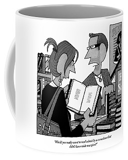 A Man And A Woman Are In A Bookstore Coffee Mug