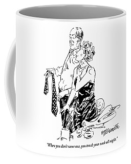 A Man And A Woman Getting Dressed. The Woman Coffee Mug
