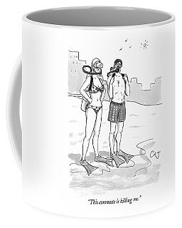 A Man And A Woman In Swimsuits And Diving Gear Coffee Mug