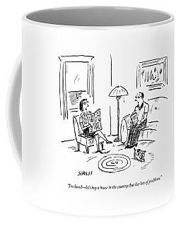 A Man And A Woman Talk In Their Living Room Coffee Mug by David Sipress
