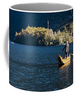 A Man And Fufr Boat Coffee Mug