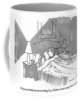 A Man And Woman Are Talking In Bed Coffee Mug