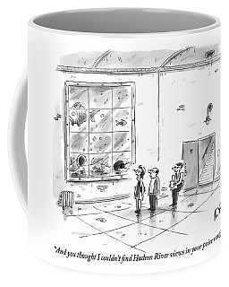A Man And Woman Are With A Real Estate Agent Coffee Mug