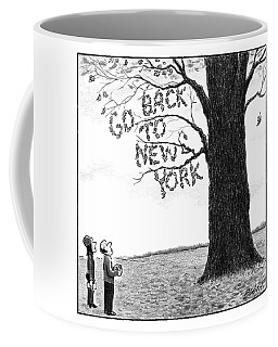 A Man And Woman Look At A Single Tree In A Field Coffee Mug