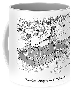 A Man And Woman On A Row Boat Pass By A Man Coffee Mug
