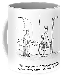 A Man Asks A Woman Who Is Leaving Him To Fill Coffee Mug