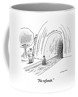 A Man At The Entrance Of The Tunnel Of Love At An Coffee Mug