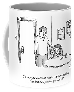 A Man Comforts His Wife Coffee Mug