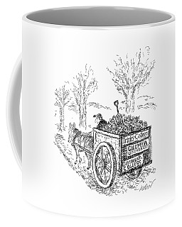 A Man Drives A Horse-drawn Cart With Bumper Coffee Mug