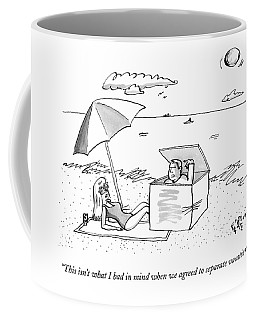 A Man Emerges From A Box On The Beach And Speaks Coffee Mug