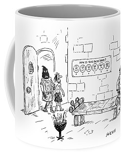 A Man Enters A Medieval Torture Chamber To See Coffee Mug