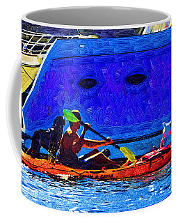 A Man His Kayak And His Dogs Coffee Mug