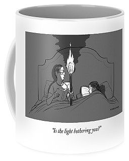 A Man Holds A Torch In Bed As His Reading Light Coffee Mug