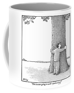 A Man Hugging A Tree Speaks To It Forlornly Coffee Mug