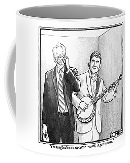 A Man In A Business Suit Is Talking On His Cell Coffee Mug