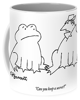 A Man In A Frog's Suit Talking And Standing Next Coffee Mug