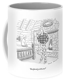 A Man In A Log Cabin Wears A Flannel Shirt Coffee Mug