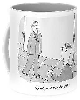 A Man In A Suit Walks Slightly Lopsided. Another Coffee Mug