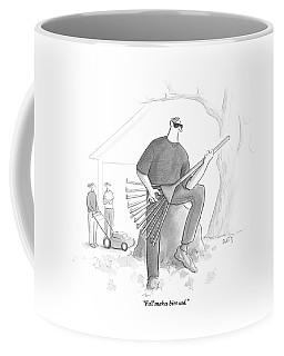A Man In A Yard Holds A Rake As Though Coffee Mug