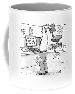 A Man In An Office Cubicle Holds A Chair Coffee Mug