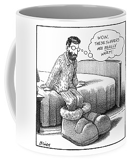 A Man In Pajamas Stepping Out Of Bed Remarks Coffee Mug