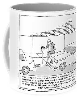 A Man Is At A Parking Meter And The Text Box Coffee Mug