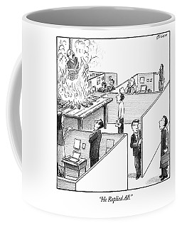 A Man Is Burned At The Stake In The Middle Of An Coffee Mug