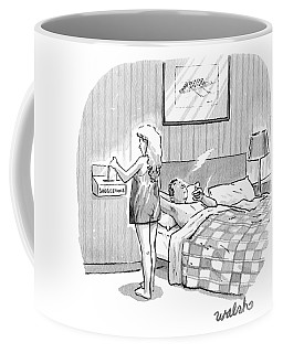 A Man Is In Bed Having A Post-sex Cigarette Coffee Mug