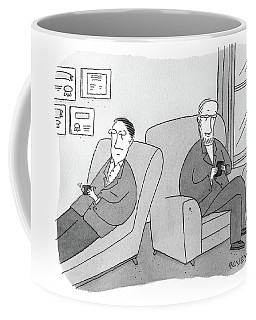 A Man Is On The Couch In His Therapist's Office Coffee Mug