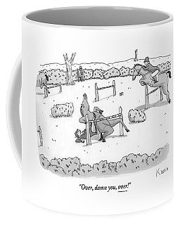 A Man Is Riding A Horse In A Competition. Coffee Mug