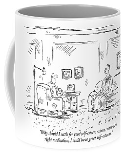 A Man Is Seen Sitting And Talking Coffee Mug