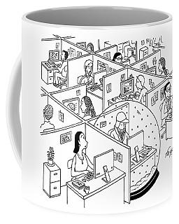 A Man Is Seen Sitting In An Oversized Snow Globe Coffee Mug