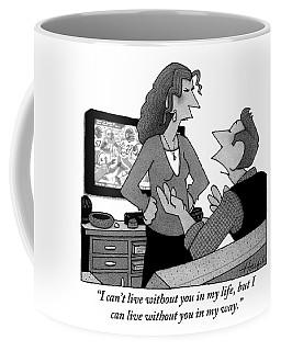 A Man Is Watching Football And A Woman Coffee Mug