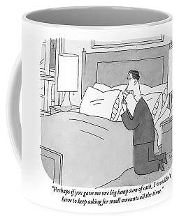 A Man Kneels Beside His Bed Coffee Mug