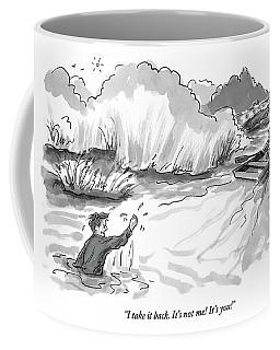 A Man Marooned In A Marsh Shouts Coffee Mug