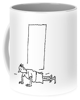 A Man Notices He Is Overweight In A Mirror Coffee Mug