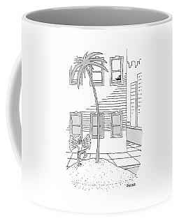 A Man On A Desert Island On A City Street Waving Coffee Mug