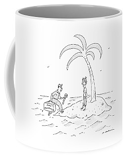 A Man On A Deserted Island Is Approached Coffee Mug