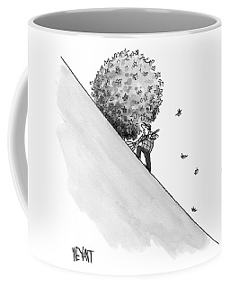 A Man Rakes Leaves Uphill Coffee Mug