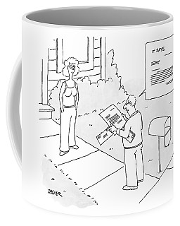 A Man Reads A Letter That Has Lines Coffee Mug