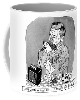 A Man Sits At A Table In Front Of A Plate Of Ribs Coffee Mug