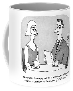 A Man Sits With A Woman At A Cafe Coffee Mug