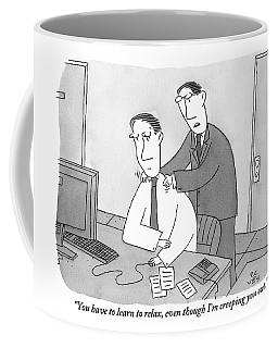 A Man Sitting At His Desk Is Massaged Coffee Mug