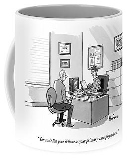 A Man Speaks To A Receptionist Coffee Mug