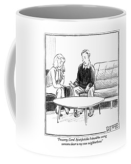 A Man Speaks To A Woman. They Are Seated Coffee Mug