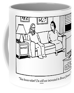 A Man Speaks To His Wife In Front Coffee Mug