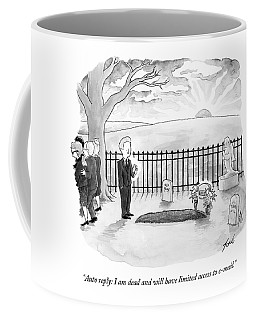 A Man Standing By A Fresh Grave After A Funeral Coffee Mug