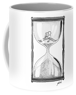 A Man Stands In The Top Half Of An Hourglass Coffee Mug