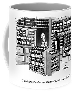 A Man Talking To An Employe At A Wine Store Coffee Mug