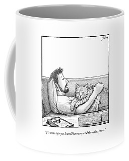 A Man Talking To The Cat Lying On His Stomach Coffee Mug